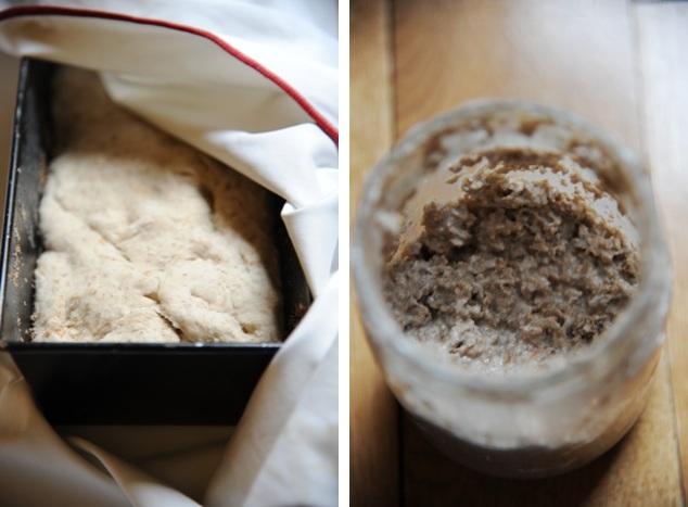 Chleb w fazie wyrastania oraz aktywny zakwas żytni